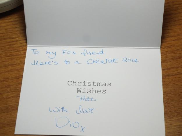 the inside of Viv's card