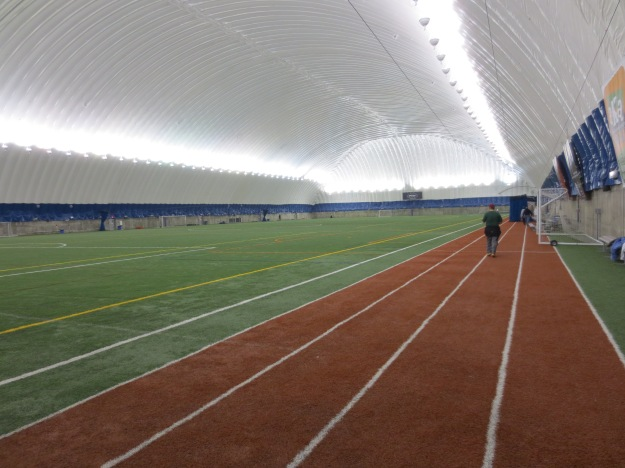 Inside the sports arena.